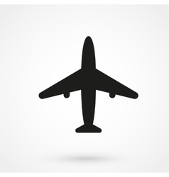 Airplane icon black on white background vector