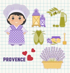 Provence set of flat icons vector
