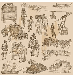 An hand drawn pack - TRANSPORT vector image