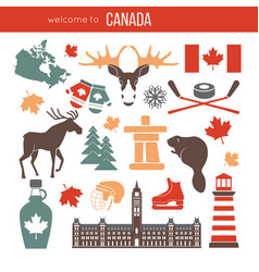 Canada attributes colorful set on white vector