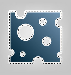 Cheese slice sign blue icon with outline vector