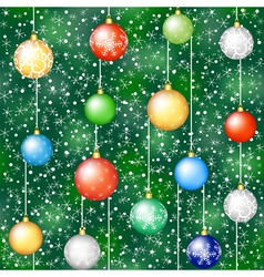christmas background with tree and hanging baubles vector image