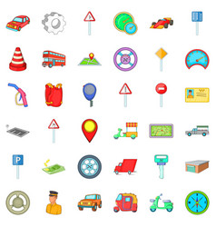 City car icons set cartoon style vector
