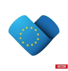 Flag icon in the form of heart I love Europe vector image vector image