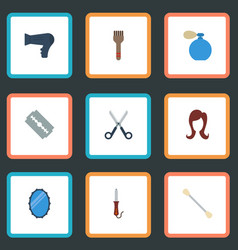 Flat icons razor shears looking-glass and other vector