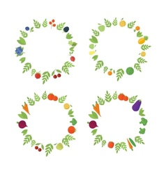 Frames with fruits and vegetables vector