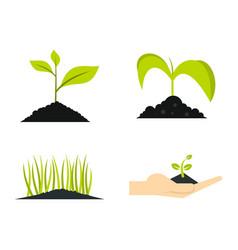 ground plant icon set flat style vector image