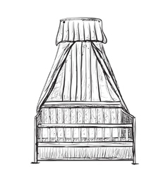 Hand Drawn Baby Cradle vector image