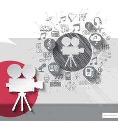 Hand drawn video camera icons with icons vector image vector image