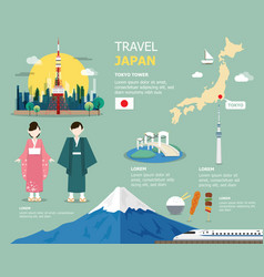 japanese map for traviling in japan design vector image vector image