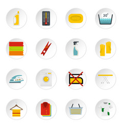 laundry icons set in flat style vector image vector image