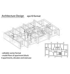 Model floor of apartment block vector