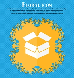 Open box icon Floral flat design on a blue vector image vector image