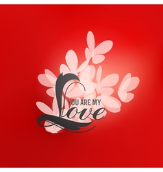 Romantic design with love lettering and butterfly vector image vector image