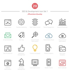 Set of Bold Stroke SEO and Development icons Set 1 vector image vector image