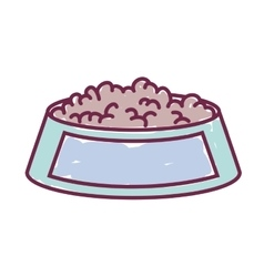 silhouette with Pet dish food color vector image