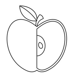 sliced apple icon outline style vector image vector image
