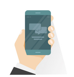 smartphone in hand showing chatting app vector image vector image