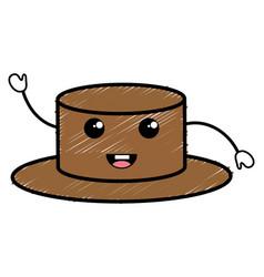Snowman hat kawaii character vector