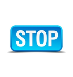Stop blue 3d realistic square isolated button vector