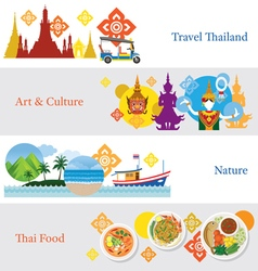 Thailand travel banner concept set vector