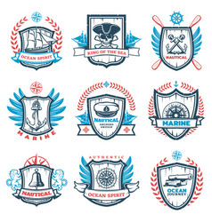 vintage colored nautical emblems set vector image vector image