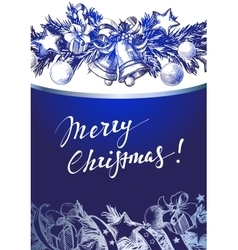 Christmas blue background with silver fir twigs vector