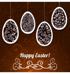 Chocolate Easter Background with Eggs vector image