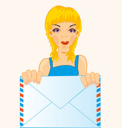 Girl with envelope vector