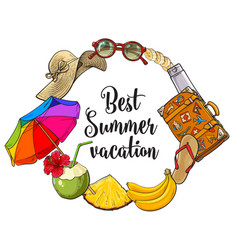 Round frame of summer time vacation attributes vector