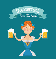woman cartoon oktoberfest design vector image
