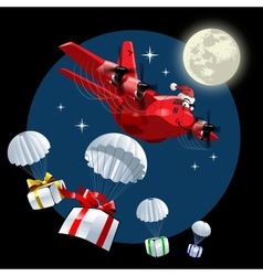 Cartoon christmas cargo airplane vector