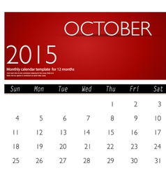 Simple 2015 calendar october vector