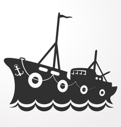 Silhouette fishing vessel vector