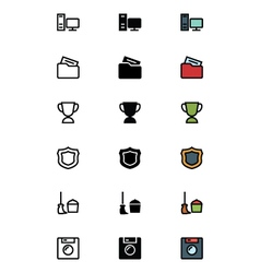 Education outline filled and colored icons 10 vector