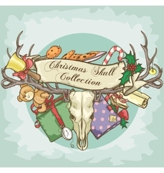 Christmas reindeer skull label design vector