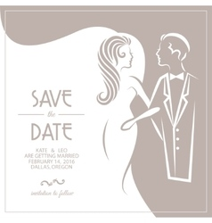 Wedding invitation card with groom and bride vector