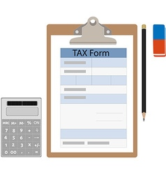 Tax form calculator eraser and pencil vector