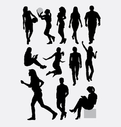 Male and female people activity silhouettes vector