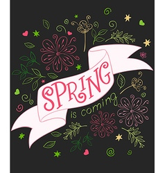 Hand drawing lettering quote - spring is coming - vector