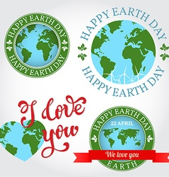 We love you earth badge label logo greeting card vector
