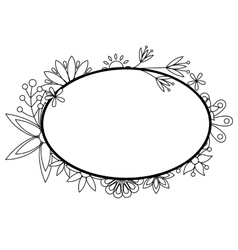 Banner with flowers black and white vector