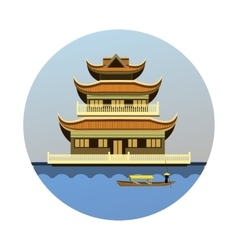 Buddhist temple emblem vector