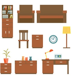 Office furniture flat design set vector