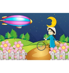 A woman with a bike and the stripe airship vector image vector image