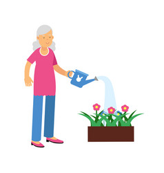 Active senior woman watering with can a flower bed vector