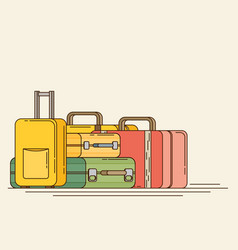 baggage luggage suitcases on background flat vector image vector image