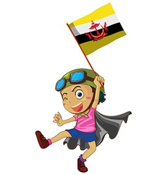 Boy holding flag of Brunei vector image