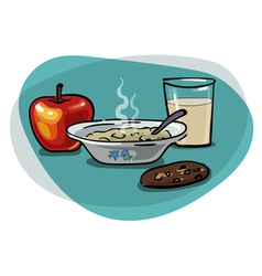 Breakfast with oatmeal and apple vector image