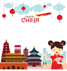 Chinese girl travel china frame vector